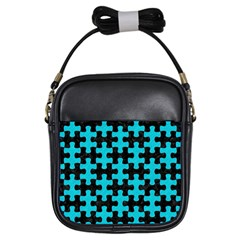 Puzzle1 Black Marble & Turquoise Colored Pencil Girls Sling Bags by trendistuff