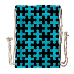 Puzzle1 Black Marble & Turquoise Colored Pencil Drawstring Bag (large) by trendistuff
