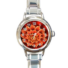 Beautiful Ruby Red Dahlia Fractal Lotus Flower Round Italian Charm Watch by jayaprime