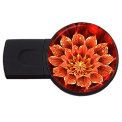 Beautiful Ruby Red Dahlia Fractal Lotus Flower Usb Flash Drive Round (4 Gb) by jayaprime