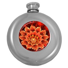 Beautiful Ruby Red Dahlia Fractal Lotus Flower Round Hip Flask (5 Oz) by beautifulfractals
