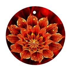 Beautiful Ruby Red Dahlia Fractal Lotus Flower Round Ornament (two Sides) by jayaprime