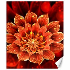 Beautiful Ruby Red Dahlia Fractal Lotus Flower Canvas 20  X 24   by jayaprime