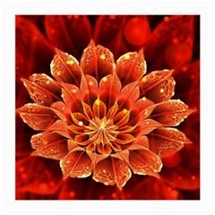 Beautiful Ruby Red Dahlia Fractal Lotus Flower Medium Glasses Cloth by jayaprime