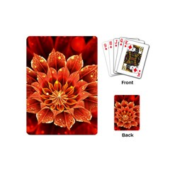 Beautiful Ruby Red Dahlia Fractal Lotus Flower Playing Cards (mini)  by beautifulfractals