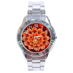 Beautiful Ruby Red Dahlia Fractal Lotus Flower Stainless Steel Analogue Watch by jayaprime