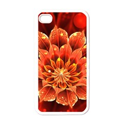 Beautiful Ruby Red Dahlia Fractal Lotus Flower Apple Iphone 4 Case (white) by jayaprime