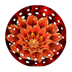 Beautiful Ruby Red Dahlia Fractal Lotus Flower Round Filigree Ornament (two Sides) by beautifulfractals