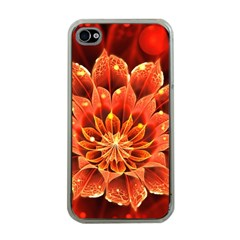 Beautiful Ruby Red Dahlia Fractal Lotus Flower Apple Iphone 4 Case (clear) by jayaprime