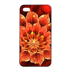 Beautiful Ruby Red Dahlia Fractal Lotus Flower Apple Iphone 4/4s Seamless Case (black) by jayaprime