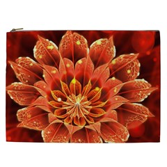 Beautiful Ruby Red Dahlia Fractal Lotus Flower Cosmetic Bag (xxl)  by beautifulfractals