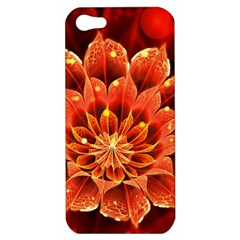 Beautiful Ruby Red Dahlia Fractal Lotus Flower Apple Iphone 5 Hardshell Case by jayaprime