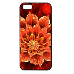 Beautiful Ruby Red Dahlia Fractal Lotus Flower Apple Iphone 5 Seamless Case (black) by jayaprime