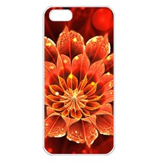 Beautiful Ruby Red Dahlia Fractal Lotus Flower Apple Iphone 5 Seamless Case (white) by jayaprime