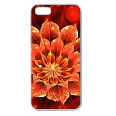 Beautiful Ruby Red Dahlia Fractal Lotus Flower Apple Seamless Iphone 5 Case (clear) by jayaprime