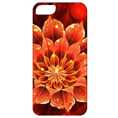 Beautiful Ruby Red Dahlia Fractal Lotus Flower Apple Iphone 5 Classic Hardshell Case by jayaprime