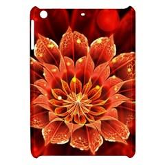 Beautiful Ruby Red Dahlia Fractal Lotus Flower Apple Ipad Mini Hardshell Case by jayaprime