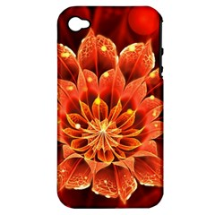 Beautiful Ruby Red Dahlia Fractal Lotus Flower Apple Iphone 4/4s Hardshell Case (pc+silicone) by jayaprime