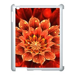 Beautiful Ruby Red Dahlia Fractal Lotus Flower Apple Ipad 3/4 Case (white) by jayaprime