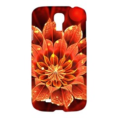 Beautiful Ruby Red Dahlia Fractal Lotus Flower Samsung Galaxy S4 I9500/i9505 Hardshell Case by jayaprime