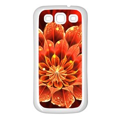 Beautiful Ruby Red Dahlia Fractal Lotus Flower Samsung Galaxy S3 Back Case (white) by beautifulfractals