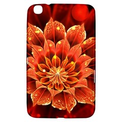 Beautiful Ruby Red Dahlia Fractal Lotus Flower Samsung Galaxy Tab 3 (8 ) T3100 Hardshell Case  by jayaprime