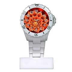 Beautiful Ruby Red Dahlia Fractal Lotus Flower Plastic Nurses Watch by beautifulfractals