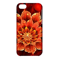Beautiful Ruby Red Dahlia Fractal Lotus Flower Apple Iphone 5c Hardshell Case by jayaprime