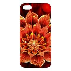 Beautiful Ruby Red Dahlia Fractal Lotus Flower Iphone 5s/ Se Premium Hardshell Case by jayaprime