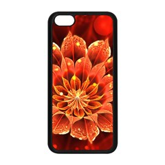 Beautiful Ruby Red Dahlia Fractal Lotus Flower Apple Iphone 5c Seamless Case (black) by jayaprime