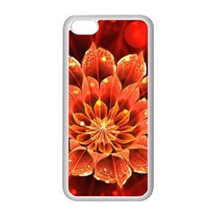 Beautiful Ruby Red Dahlia Fractal Lotus Flower Apple Iphone 5c Seamless Case (white) by beautifulfractals