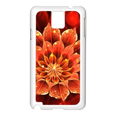 Beautiful Ruby Red Dahlia Fractal Lotus Flower Samsung Galaxy Note 3 N9005 Case (white) by beautifulfractals
