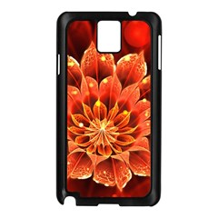Beautiful Ruby Red Dahlia Fractal Lotus Flower Samsung Galaxy Note 3 N9005 Case (black) by jayaprime
