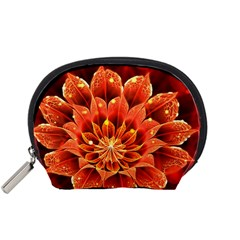 Beautiful Ruby Red Dahlia Fractal Lotus Flower Accessory Pouches (small)  by jayaprime