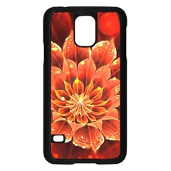 Beautiful Ruby Red Dahlia Fractal Lotus Flower Samsung Galaxy S5 Case (black) by jayaprime