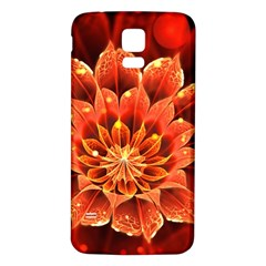 Beautiful Ruby Red Dahlia Fractal Lotus Flower Samsung Galaxy S5 Back Case (white) by jayaprime