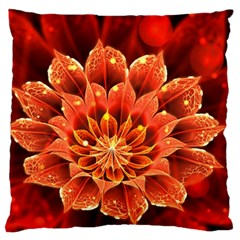 Beautiful Ruby Red Dahlia Fractal Lotus Flower Large Flano Cushion Case (two Sides) by jayaprime