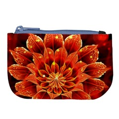 Beautiful Ruby Red Dahlia Fractal Lotus Flower Large Coin Purse by beautifulfractals