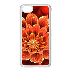 Beautiful Ruby Red Dahlia Fractal Lotus Flower Apple Iphone 7 Seamless Case (white) by beautifulfractals