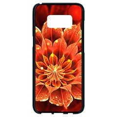 Beautiful Ruby Red Dahlia Fractal Lotus Flower Samsung Galaxy S8 Black Seamless Case by jayaprime