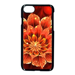 Beautiful Ruby Red Dahlia Fractal Lotus Flower Apple Iphone 8 Seamless Case (black) by jayaprime