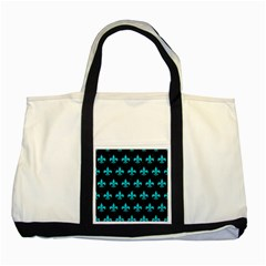 Royal1 Black Marble & Turquoise Colored Pencil Two Tone Tote Bag by trendistuff