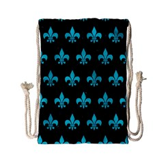 Royal1 Black Marble & Turquoise Colored Pencil Drawstring Bag (small) by trendistuff