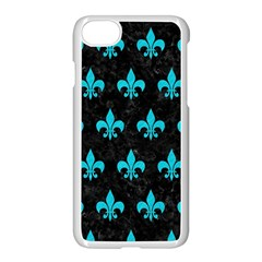 Royal1 Black Marble & Turquoise Colored Pencil Apple Iphone 8 Seamless Case (white) by trendistuff