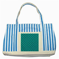 Scales1 Black Marble & Turquoise Colored Pencil Striped Blue Tote Bag