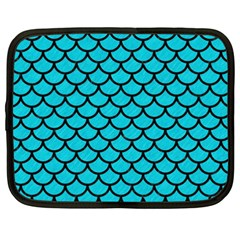Scales1 Black Marble & Turquoise Colored Pencil Netbook Case (xxl)