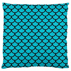 Scales1 Black Marble & Turquoise Colored Pencil Large Flano Cushion Case (one Side) by trendistuff