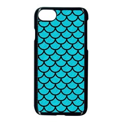 Scales1 Black Marble & Turquoise Colored Pencil Apple Iphone 8 Seamless Case (black)