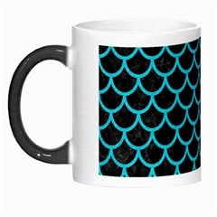 Scales1 Black Marble & Turquoise Colored Pencil (r) Morph Mugs by trendistuff