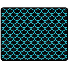 Scales1 Black Marble & Turquoise Colored Pencil (r) Fleece Blanket (medium)  by trendistuff